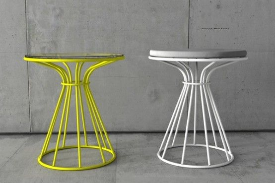 Coffee Tables and Stool with Restrained by Circle Painted Metal Structures | DigsDigs