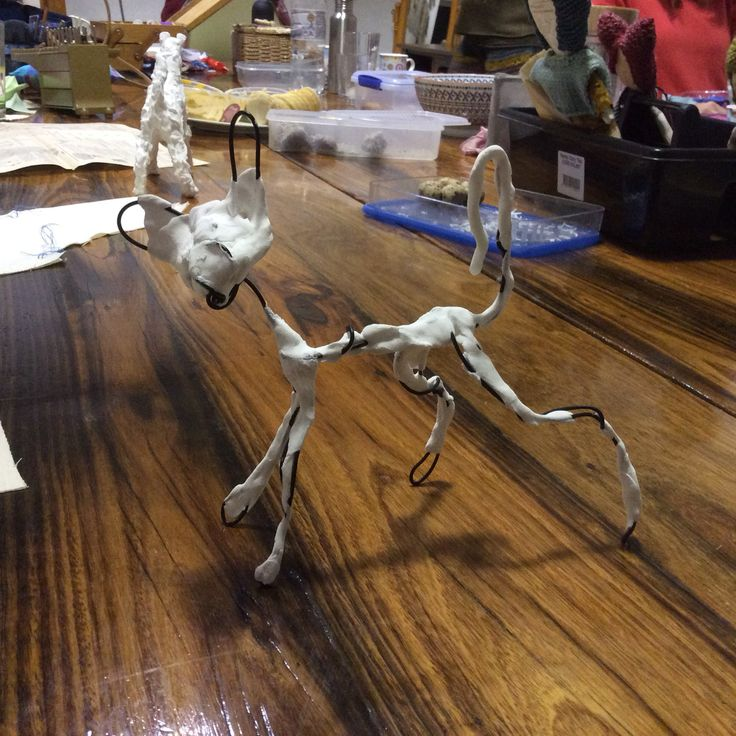Wire and paper magic clay Cornish Rex cat. Fun play at our 2015 craft weekend