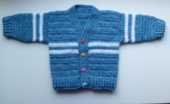 Baby Boy's Sweater / Cardigan With Car Buttons by BrijohCrafts
