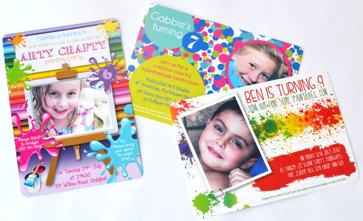 A must for Kids' Art & Craft parties - colourful, personalised party invitations - www.macaroon.co