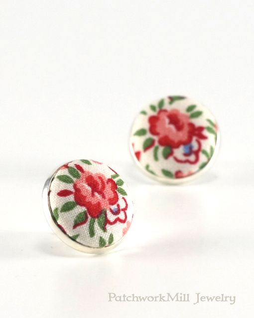 Flower Stud Earrings, Flowers Earring Studs, Summer Roses Earrings, Floral Country Cottage Chic Fabric Button Jewelry, Shabby Elegance Posts, Jewelry by PatchworkMillJewelry