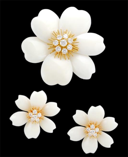 VAN CLEEF & ARPELS White Coral & Diamond Pin & Earrings - Yafa Jewelry