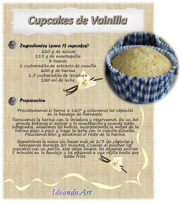 Riquísima receta de cupcakes de vainilla by IdeandoArt