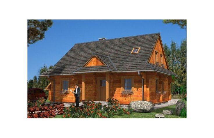 Projekt jednorodzinnego domu z bala z poddaszem mieszkalnym.