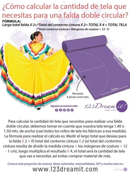 Para que no compres tela de más, aquí te decimos como calcular la cantidad de tela que necesitas para poder realizar una falda doble circular. Da click en la imagen para ver las instrucciones completas.
