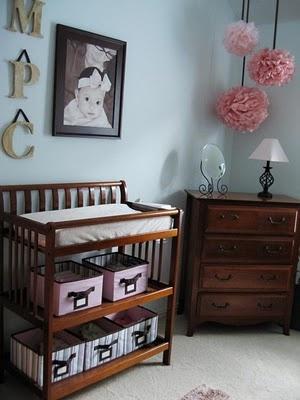 Nursery - Blue but Girl: Decor Ideas, Nurseries Rooms, Wall Color, Baby Girls, Baby Rooms, Pom Pom, Changing Tables, Girls Nurseries, Nurseries Ideas