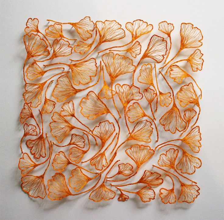 Australian artist Meredith Woolnough creates elaborate embroideries that mimic delicate forms of...