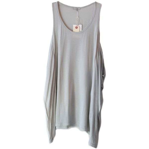 Clu Gray Asymmetrical Loose Tank Top ($155) ❤ liked on Polyvore