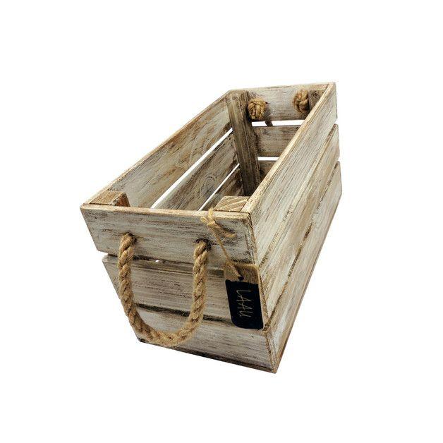 Drewniana skrzynka 15x31 Biało Brązowa marka LAAU,PL - Skrzynki i pudełka