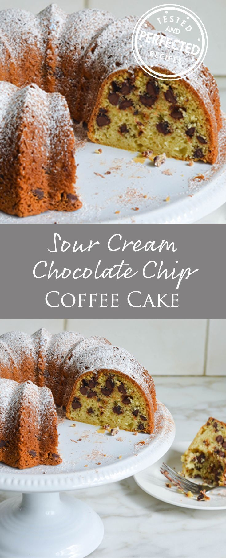 Rich and tender from the addition of sour cream, and jam-packed with chocolate chips, this is the kind of old-fashioned, homey cake that appeals to just about everyone — and it's super-simple. Sour Cream Chocolate Chip Coffee Cake! #cake #testedandperfected #chocolatechip
