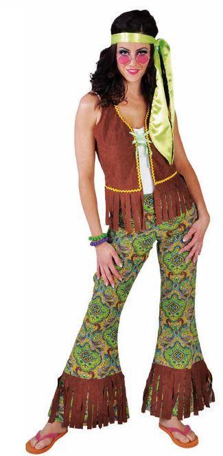 hippiedame groen - verkleedkledij, carnavalkledij, carnavaloutfit, feestkledij, jaren 60 , r&r, sixties, hippie, flowerpower