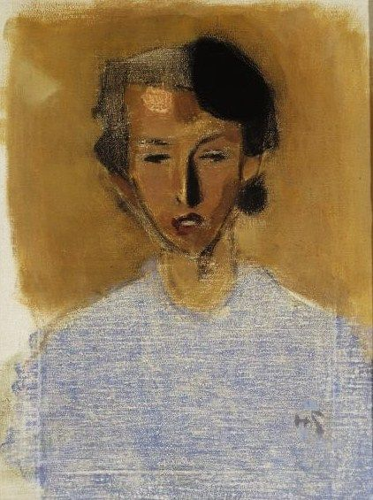 Helene Schjerfbeck (Finish 1862–1946) [Realism, Impressionism, Expressionism, Romanticism] Portrait of a Girl in Blue and Brown (Inez), 1944.