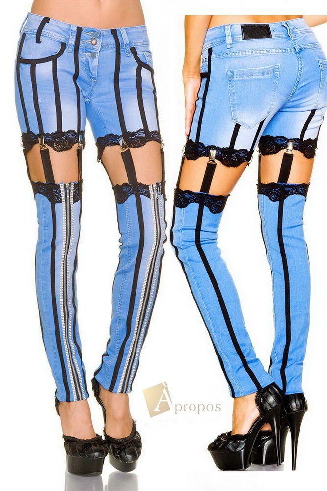 Jeans Spitze Handarbeit Luxus Extravagant Stonewashed Denim Strass Apropos