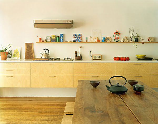 Kitchen- all lower cabinets. Use upper shelf for impractical display of creative & colorful objects.