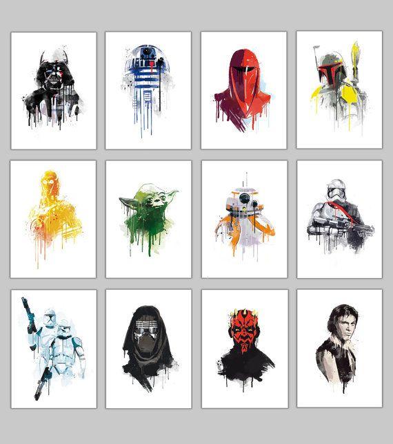 Autre star wars aquarelle 12 caractères pleine collection wall art geek promo…
