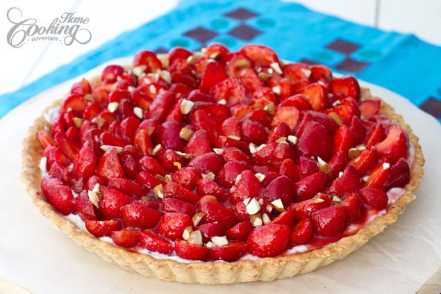 Strawberry Tart with ricotta filling, a refreshing decadent dessert perfect for summer days. This is a  dessert that can be easily made in advance.