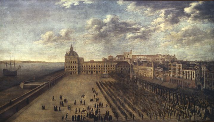 23 April 1662.Catherine of Braganza departs Lisbon from the Palace Square, Unknown-Museu de Lisboa-Palácio Pimenta.Royal Cortege on the Palace Square, 23 April 1662. Infanta Catherine of Braganza departs for England, where she is to marry King Charles II.