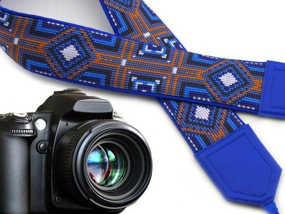 Blue tribal camera strap. Camera strap native. Bright multicolor ethnic camera strap. Blue, black, orange replacement strap for DSLR and SLR