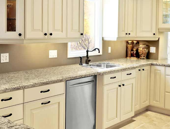 Kitchen cabinets painted linen bisque like this for the for White kitchen cabinets black hardware