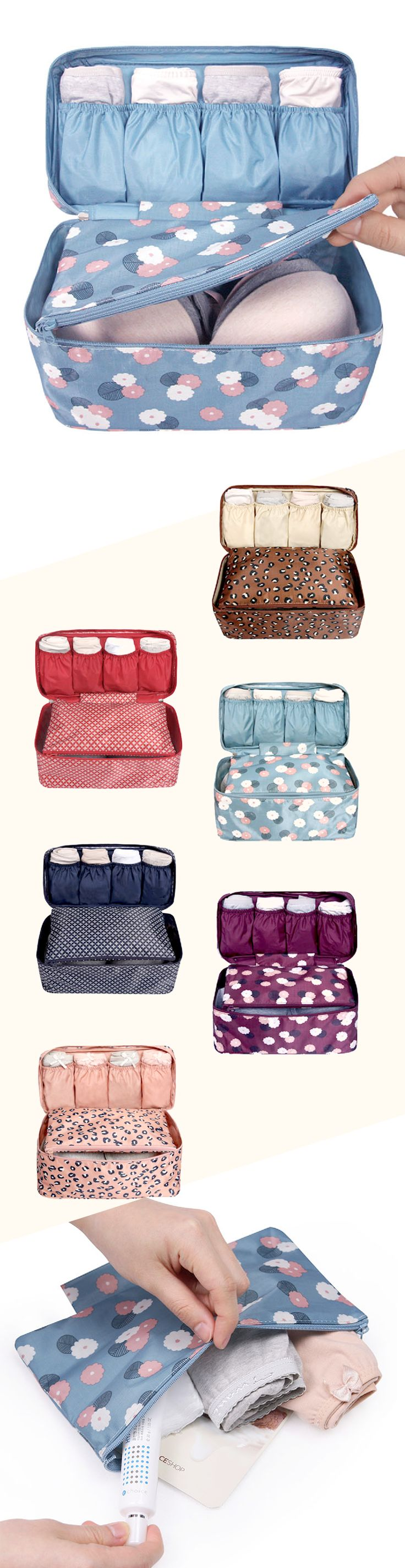 Wow! These underwear pouches are so cute. Keep your underwear and bras all in one, organized place while traveling. Fits 4-6 underwear and 4-6 bras! Includes a detachable pouch perfect for storing already-worn underwear. Includes handle for easy carrying, and a waterproof exterior. Comes in 2 different sizes, and 6 different patterns!