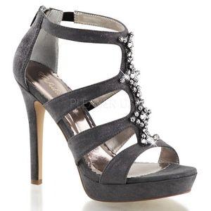 Grau Strass 12 cm LUMINA-47 Hohe Abend Sandaletten mit Absatz - sexy high heels damen schuhe online shop