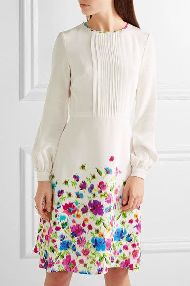 Oscar de la Renta pintucked floral-print silk-satin dress $2,390 - love this orginal styling with a nude leather clutch and red heels - just add a high ponytail and ruby earrings!