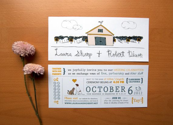 rustic wedding invitation cat loves dog barn with vineyard illustration on etsy 279 aud wedding pinterest