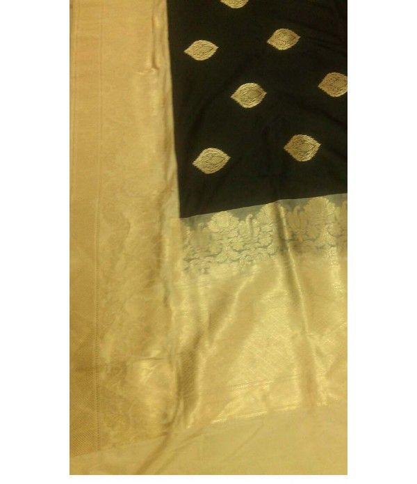 Black and Gold handloom Banarasi Pure Silk Saree