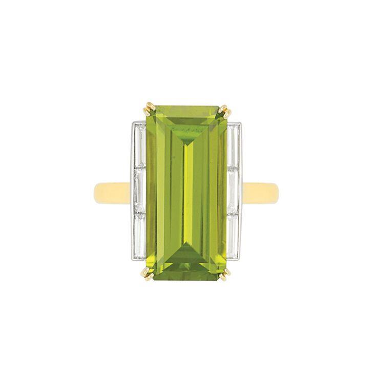 peridot and diamond ring in gold #jewelry