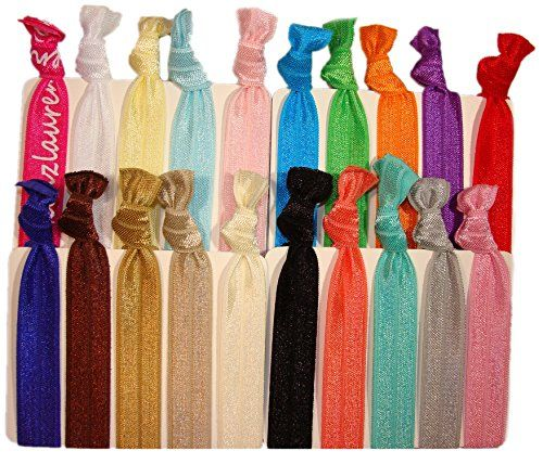 """Hair Ties Ponytail Holders - 20 Pack """"Solid Assortment"""" No Crease Ouchless Elastic Styling Accessories Pony Tail Holder Ribbon Bands - By Kenz Laurenz Kenz Laurenz http://www.amazon.com/dp/B00LTBJHAI/ref=cm_sw_r_pi_dp_wJl5wb1G5BQ1T"""