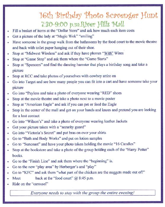 S much fun for a youth group, team or club activity! Example of a Mall Scavenger Hunt, photo list