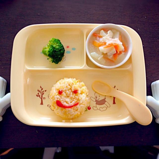 11ヶ月☆ - 4件のもぐもぐ - 卵チャーハン・野菜味噌汁・ブロッコリー by kokomom