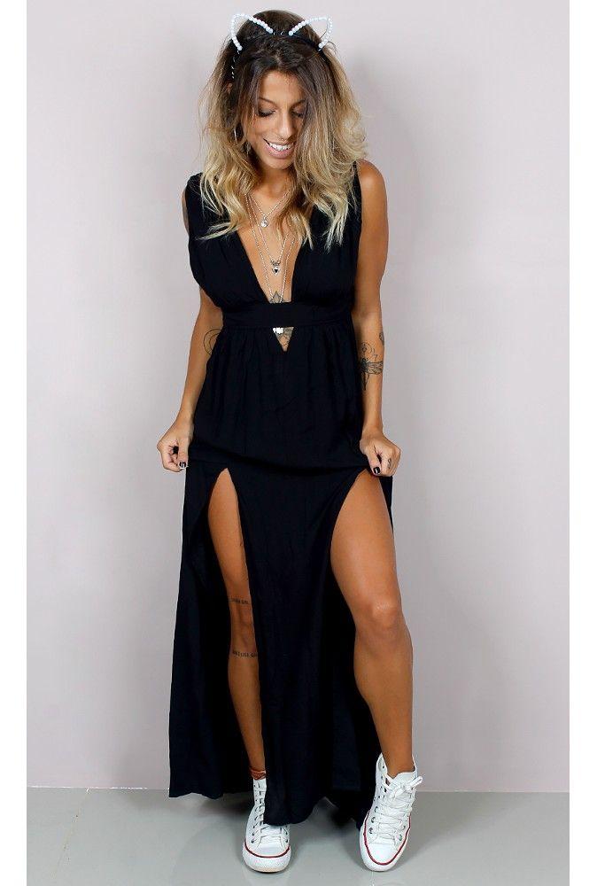 Vestido Longo Decote Profundo Must - fashioncloset