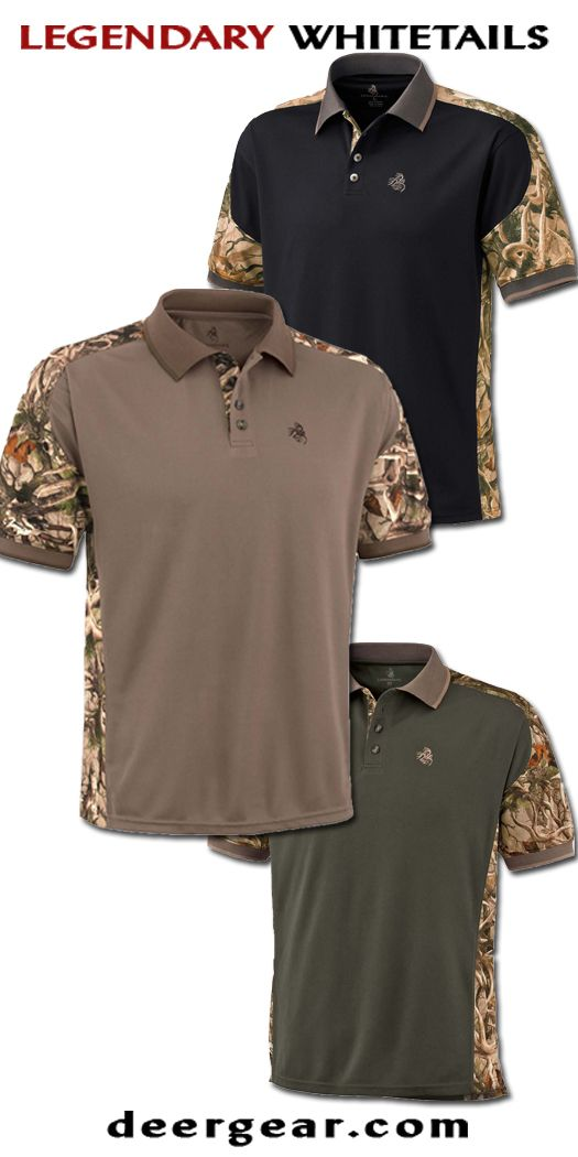 Mens Camo Short Sleeve Pro Hunter Performance Polo  deergear.com #LegendaryWhitetails