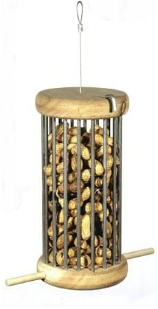 """PS12 The Original Peanut in Shell Feeder  Large peanut in shell feeder. Wood. Steel rods. 2 perches. 9½"""" x 5"""". Made from second growth cedar."""