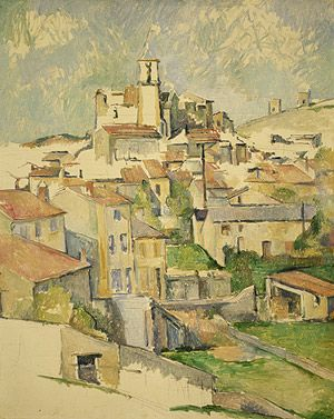 Gardanne, 1885–86  Paul Cézanne (French, 1839–1906)  Oil on canvas   31 1/2 x 25 1/4 in. (80 x 64.1 cm)  Gift of Dr. and Mrs. Franz H. Hirschland, 1957 (57.181)  On view: Gallery 825   Last Updated June 1, 2012  This is one of three views of Gardanne, a hill town near