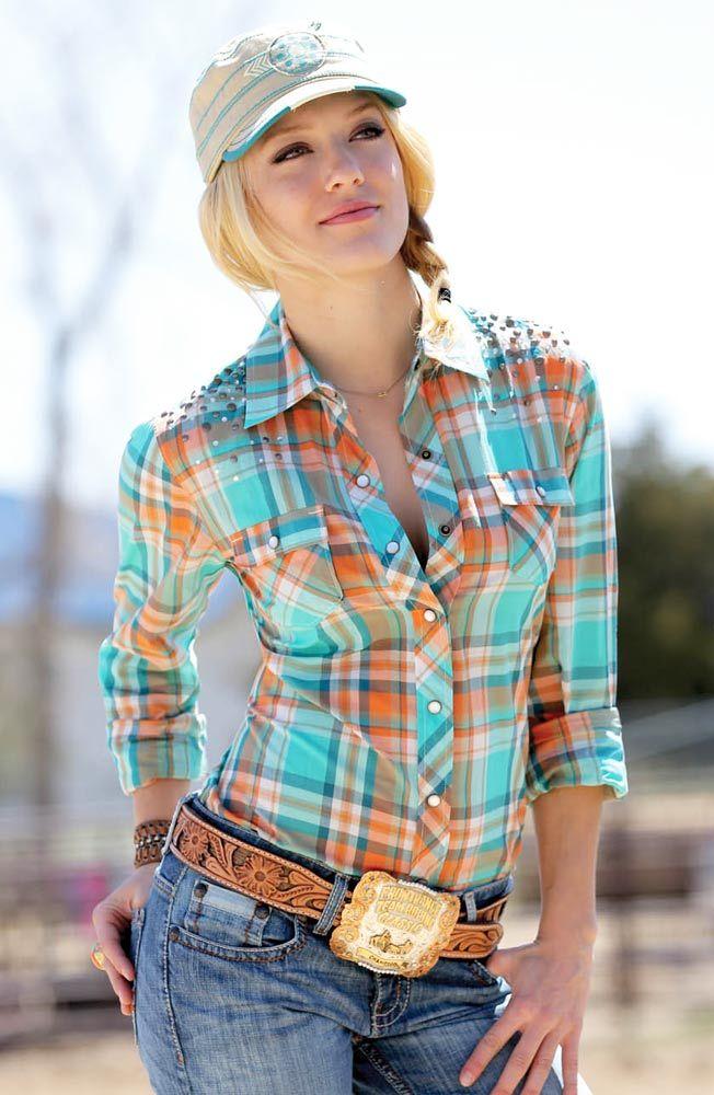 Cruel Womens Long Sleeve Studded Plaid Snap Western Shirt