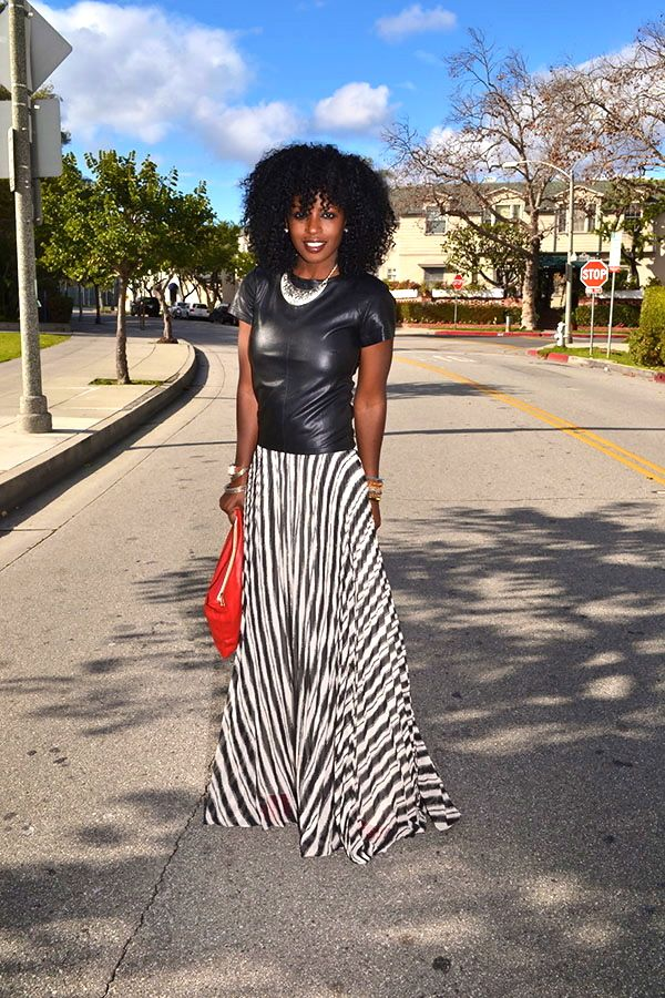 Style Pantry   Military Style Jacket + Leather T-Shirt + Striped Maxi