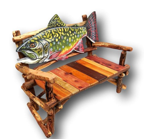 Fish Bench Brook Trout Bench Fish Furniture Fly By WoodzyShop