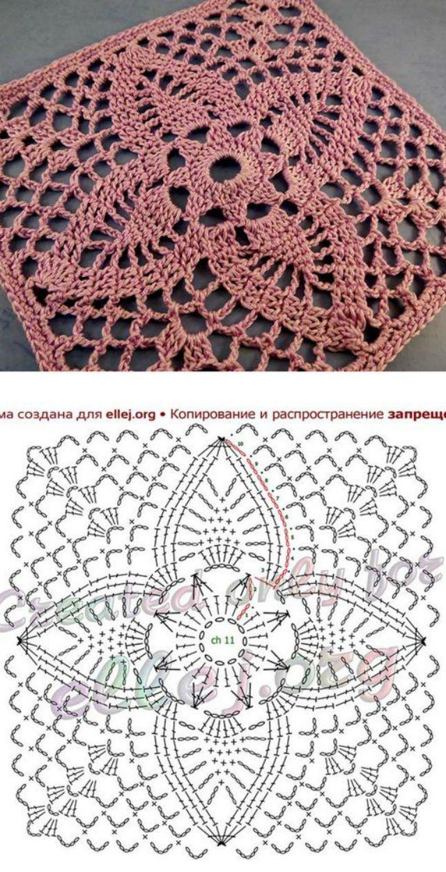 Quadrado De Crochê Passo A Passos E Gráficos Para Baixar Revista Artesanato Quadrados De Croche Quadradinhos De Croche Diagrama De Crochê