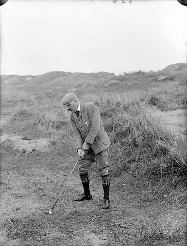 April 15, 1901: Impeccably clad P. Gallwey playing golf at Tramore. Don't know whether he's in the rough, or whether Tramore Golf Club just wasn't as manicured as we're used to nowadays.