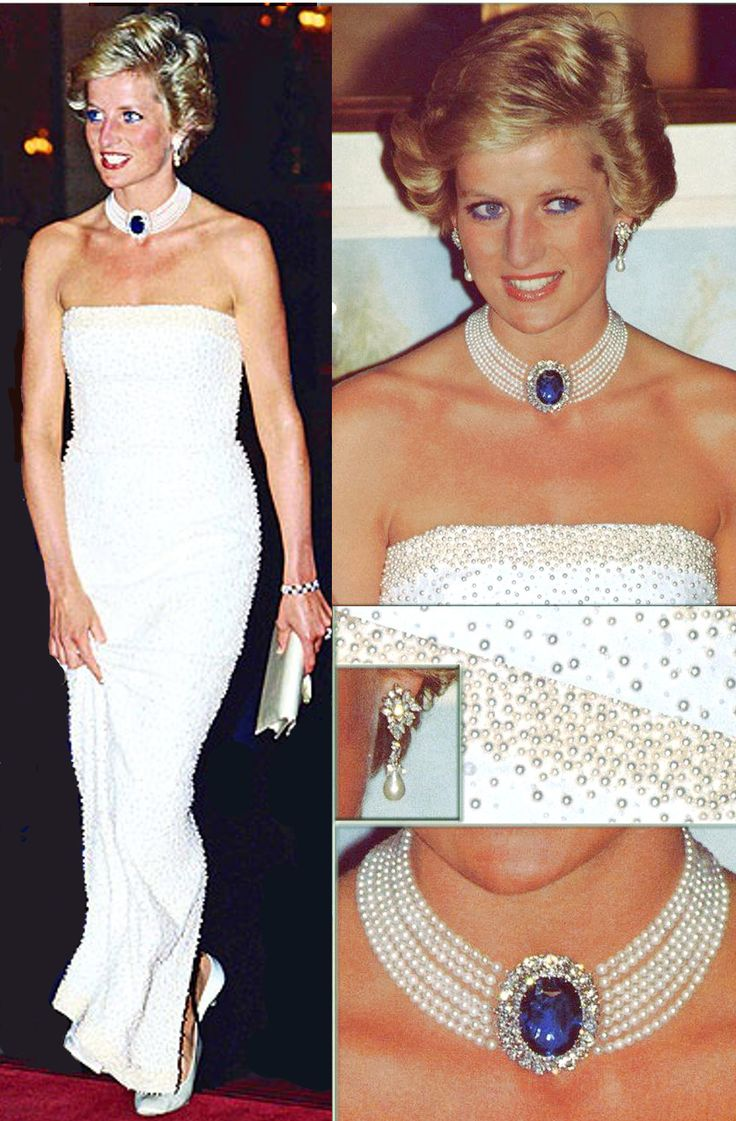 Diana loved the saphhire and pearl choker necklace! It goes very well indeed with the white Catherine Walker gown with the seed pearls (I suspect it was designed to go with the choker).