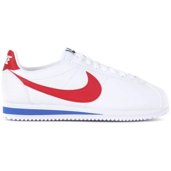 Nike Nike Classic Cortez Leather Sneakers ($105) ❤ liked on Polyvore featuring shoes, sneakers, real leather shoes, nike footwear, leather trainers, leather footwear and genuine leather shoes