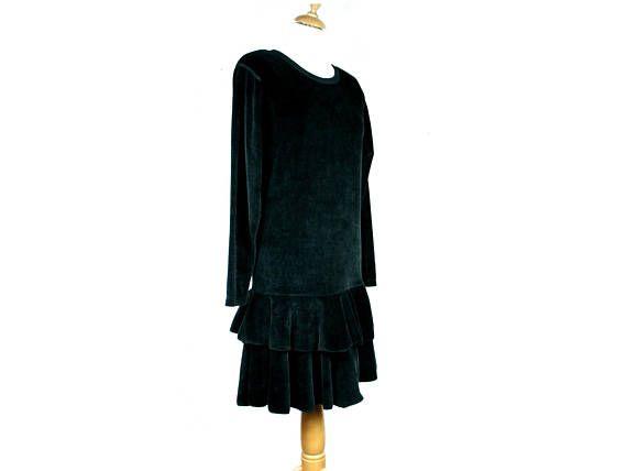 Vintage SONIA RYKIEL dress Black velvet ruffle dress Size fr