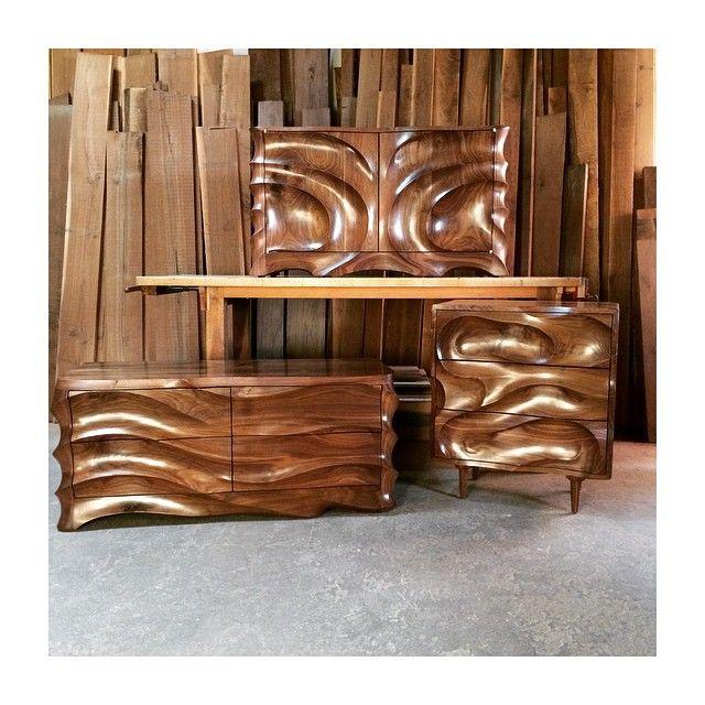 Threesome. #calebwoodard #calebwoodardfurniture #carvedcabinet #moderncabinet #contemporarycabinet