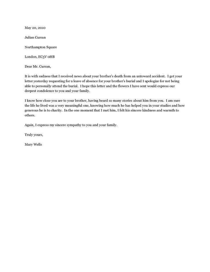 Example Of Sympathy Letter - Bestproud