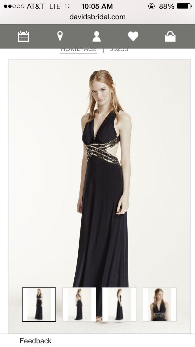 David's Bridal navy/gold prom dress-front