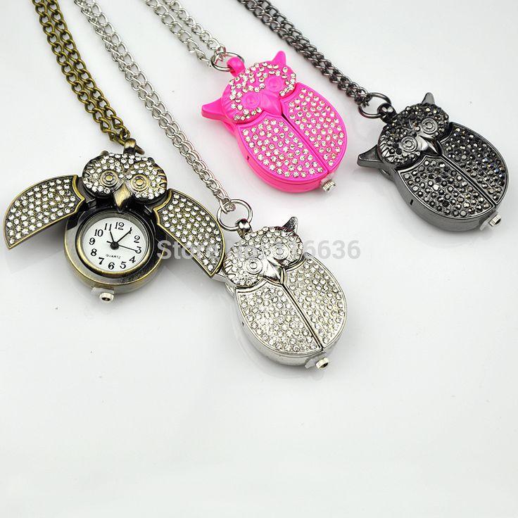 Hoge kwaliteit crystal uil zakhorloge vrouwen vintage mode strass ketting horloge vrouw sieraden roze fuschia in Waarom bij ons kopen en niet van andere aanbieders?verse batterijAlleen van goede kwaliteit.Laat je niet minder kwalitei van Pocket& fob horloges op AliExpress.com   Alibaba Groep