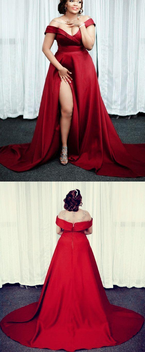 Off the shoulder red prom dresses, plus size red dress split side