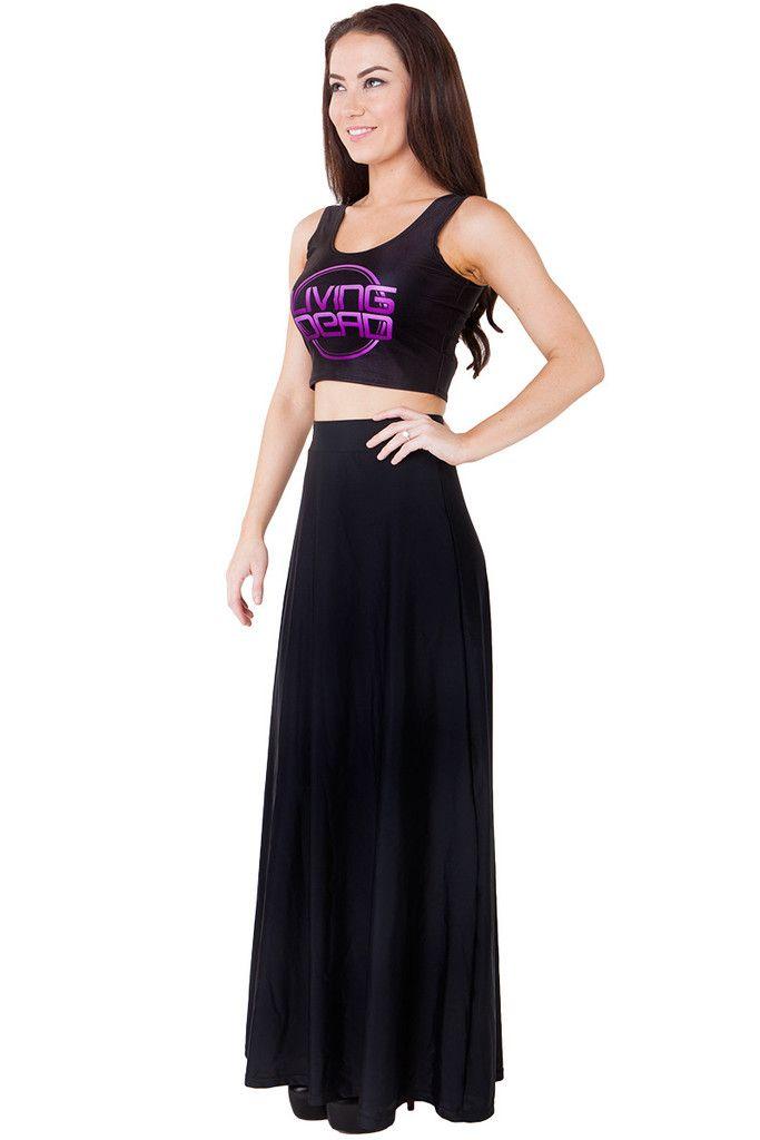 Living Dead Clothing - Matte Black Maxi Skirt, Size M/L